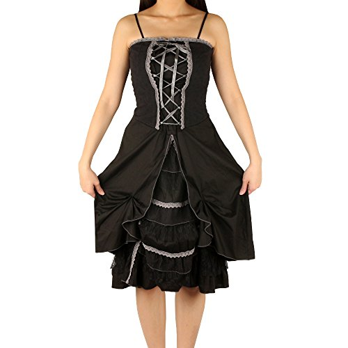 Guilty Heart Womens Lolita Gothic Lace Ruffle Victorian Steampunk Slip Cute Dress (Black, (Gothic Punk Shoes)