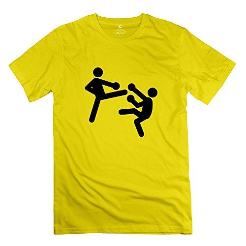 Kickboxing O Neck Men T Shirt Yellow Size XL Design By Rahk (Pretty Little Liars Halloween Photos)