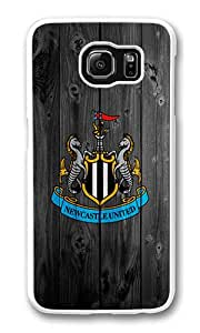 Samsung Galaxy S6 Case, Galaxy S6 Cover - Rugged Plastic Newcastle United White Hard Shell Snap on Bumper Case Cover for Samsung Galaxy S6