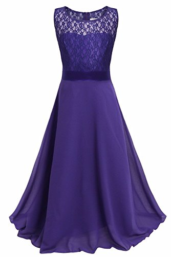 iEFiEL Big Girls Lace Chiffon Bridesmaid Dress Dance Ball Party Maxi Gown Deep Purple 8