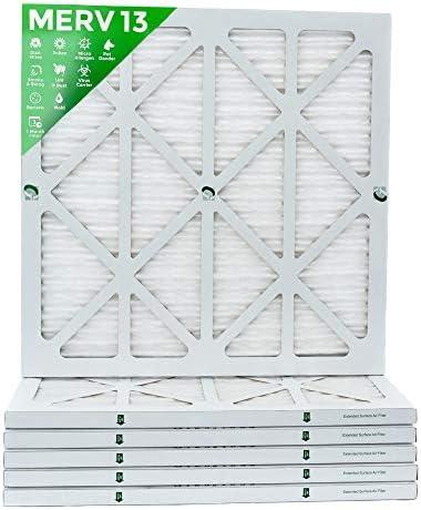 20x22x1 MERV 13 (MPR 2200) Pleated AC Furnace Air Filters. Box of 6  (Actual Size: 19-12 x 21-78 x 78) / 20x22x1 MERV 13 (MPR 2200) Pleated AC Furnace Air Filters. Box of 6  (Actual Size: 19-12 x 21-78 x 78)