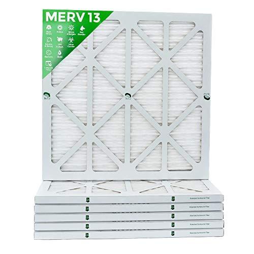 18x18x1 MERV 13 (MPR 2200) Pleated AC Furnace Air Filters. Box of 6