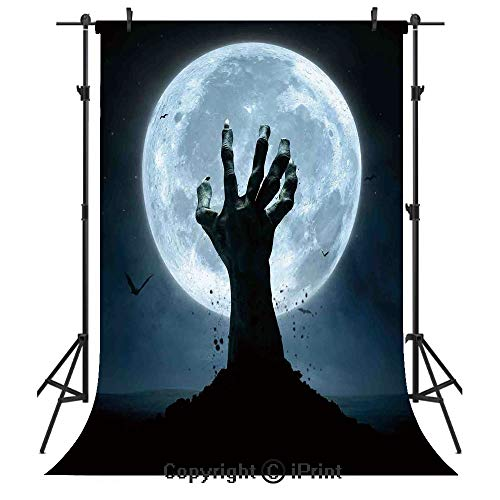 Halloween Decorations Photography Backdrops,Zombie Earth Soil Full Moon Bat Horror Story October Twilight Themed,Birthday Party Seamless Photo Studio Booth Background Banner 5x7ft,Blue Black]()