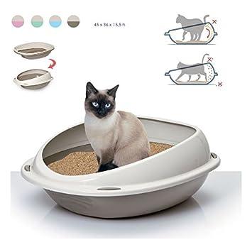 Takestop® Arenero para gatos. Bandeja higiénica 56 x 38 x 20 cm Bordes extraaltos antisuciedad. Color: aleatorio.