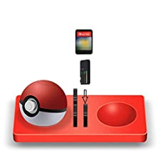 Vovomay Silicone Pad for Nintendo Switch Game Cards + Poke Ball Plus Pokemon Lets Go Pikachu Eevee Game