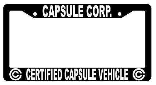 First Rober Capsule Corp Certified Capsule Vehicle Black Metal License Plate Frame Dragon Ball