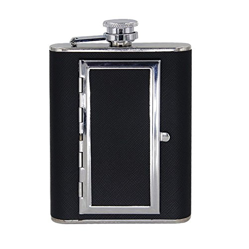 6oz-Stainless-Steel-Hip-Flask-with-Cigarette-Case-Black-Leather-with-Funnel