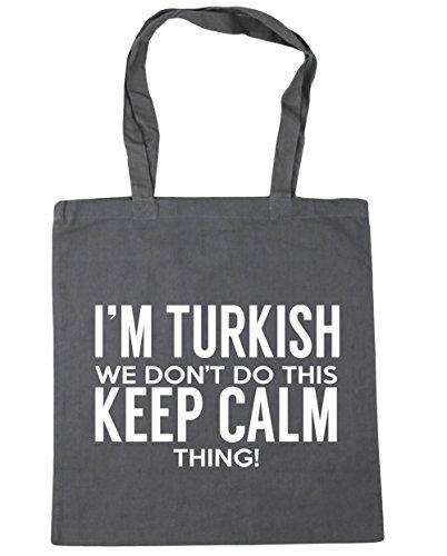HippoWarehouse I 'm turco que no hacer esto lo Keep Calm bolsa de la compra bolsa de playa 42cm x38cm, 10litros gris grafito