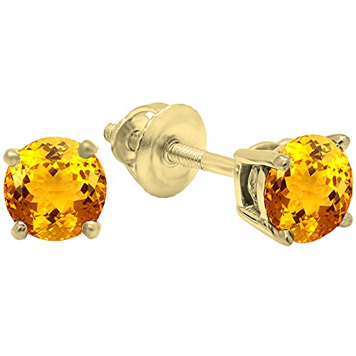- Dazzlingrock Collection 18K 5.5mm each Round Cut Citrine Ladies Solitaire Stud Earrings, Yellow Gold