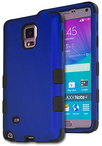 Galaxy Note 4 Case, Bastex Heavy Duty Hybrid Protective Case - Soft Black Silicone Cover with Royal Blue Design Hard Case for Samsung Galaxy Note 4