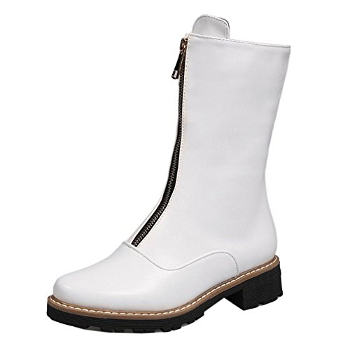 KemeKiss Short Calf Mid Boots Women White Zipper 2 Fashion YxwqYrP