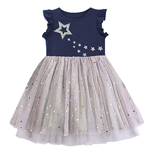 VIKITA Toddler Girls Dresses Twinkle Stars Short Sleeve Girl Dress for Kids 3-8 Years Sh4580M, 8T]()