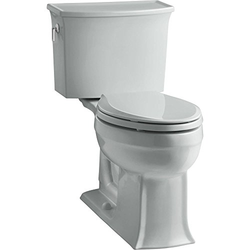 Elongated Grey Ice Rough (KOHLER K-3551-95 Archer Comfort Height Two-Piece Elongated 1.28 GPF Toilet with AquaPiston Flush Technology and Left-Hand Trip Lever, Ice Grey)