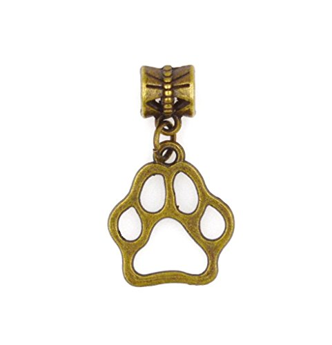 It's All About...You! Bronze Puppy Paw Dangling European Bead Charm 86J