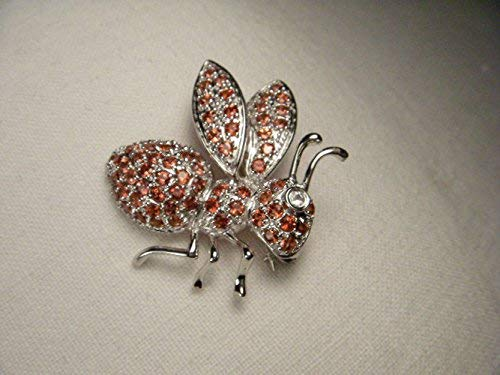 Beautiful Estate 14K White Gold Diamond Garnet Hornet Bee Brooch Pin ()