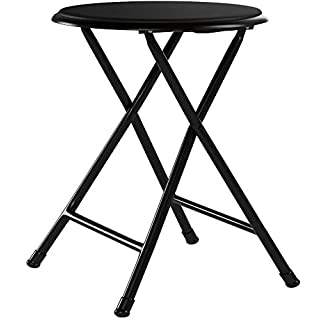 Trademark Home Folding Stool – Heavy Duty 18-Inch Collapsible Padded Round Stool with 300 Pound Capacity for Dorm, Rec Room or Gameroom (Black)