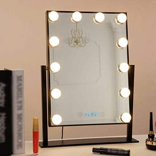12個のLED電球でライトアップ化粧メイクアップミラー調卓上タッチコントロール W1XX (Color : Black)