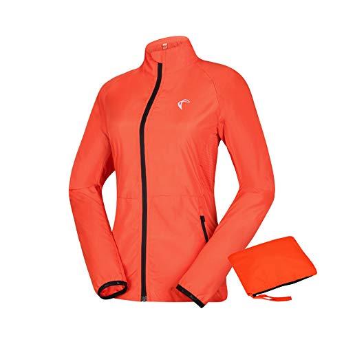 J. Carp Womens Packable Windbreaker Jacket, Lightweight and Water Resistant, Active Cycling Running Skin Coat, Orange S