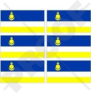 "Buriatia bandera de República Federal de Rusia, tema de Rusia 40mm (1,6"") funda para, teléfono celular vinilo Mini pegatinas, adhesivos X6"