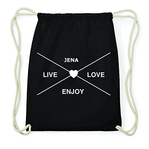 JOllify JENA Hipster Turnbeutel Tasche Rucksack aus Baumwolle - Farbe: schwarz Design: Hipster Kreuz