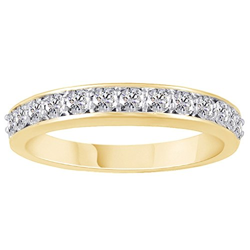 Jewel Zone US Round Cut Moissanite .45 Carat Diamond Equivalent Weight Band Ring in 14k Yellow Gold Over Sterling Silver ()