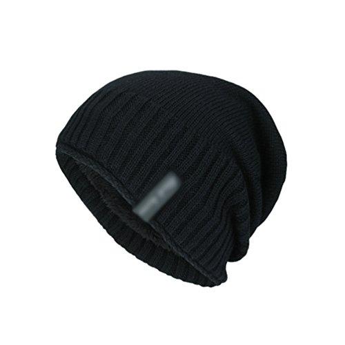 de Suave Invierno Jacquard Punto YiJee Negro Gorro Sombreros Casual Diseño de Transpirable Hombre qxOOnEPwWv