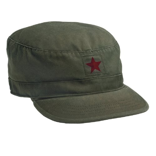 Rothco Vintage Fatigue Cap, Olive Drab with Red Star, Large