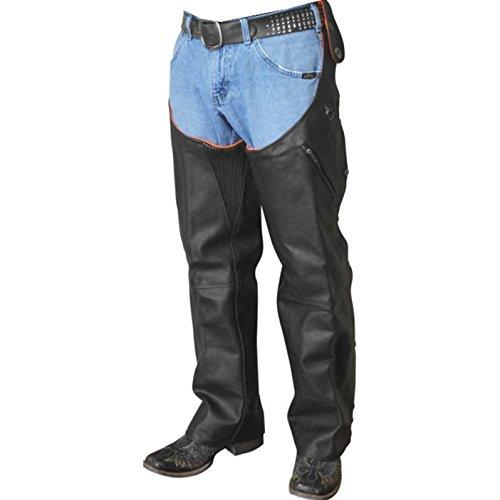 Missing Link Reversible Leather Hook Chaps Men's Street Motorcycle Pants - Black/Hi-Vis Orange / Small (Chaps Street Mens)