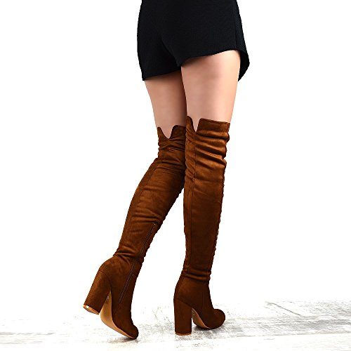 Suede Cut ESSEX High Thigh Out Boots Faux Faux Round Suede Boots Long GLAM Womens Chunky Toe Heel Mocca vBr0Uvgq
