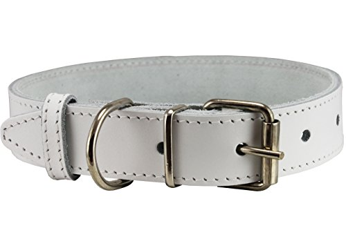 (Genuine Leather Dog Collar White 4 Sizes (14