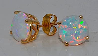 Simulated Opal Round Stud Earrings 14Kt Yellow Gold & Sterling Silver LikbICH03