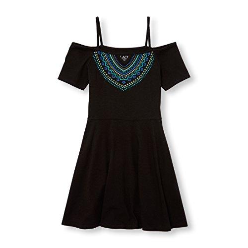 The Children's Place Big Girls' Cold Shoulder Casual Dresses, Black 01175, S (5/6) ()