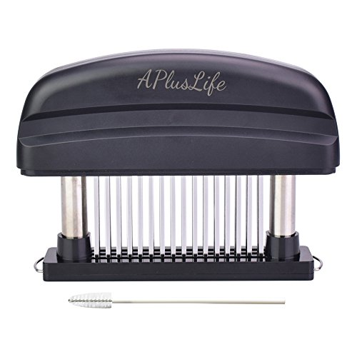 APlusLife Meat Tenderizer 48 Sharp Stainless Steel Needles Meat Pounder Kitchen Tool with Mini Cleaning Brush Replaces Mallet and Hammer Best for Tenderizing Steak(Black)