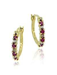 Gold Tone over Sterling Silver Genuine Ruby and Diamond Accent Hoop Earrings