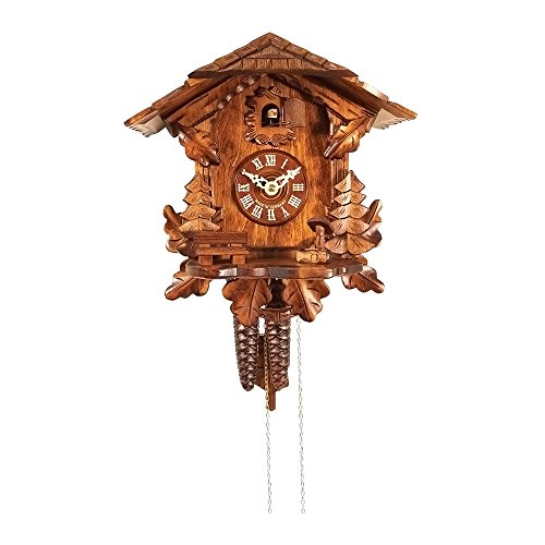 Mountain Cottage and Evergreen Trees Cuckoo Clock