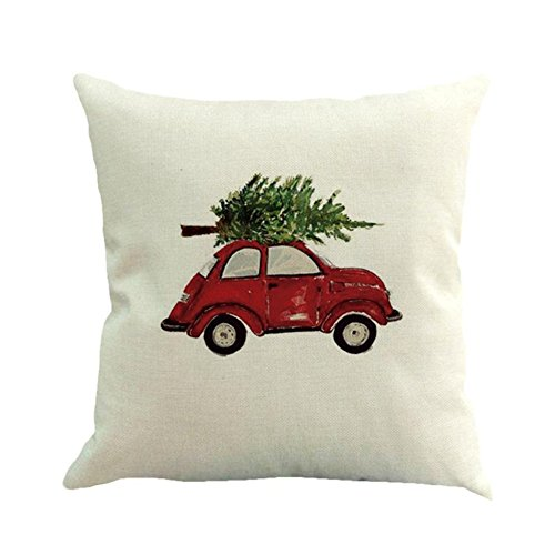 (Cotton Linen Square Throw Pillow Cover Cases,The Christmas Tree On The Beetle Cushion Cases For Home Sofa Bedroom 18x18 inches)