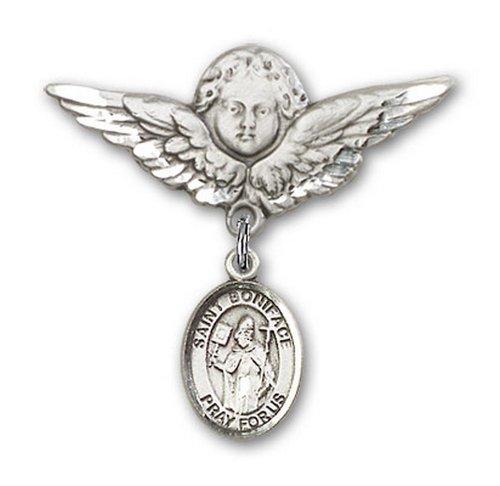 Icecarats Créatrice De Bijoux En Argent Sterling St. Boniface Charme Ange Broche De Badge 1 1/8 X 1 1/8