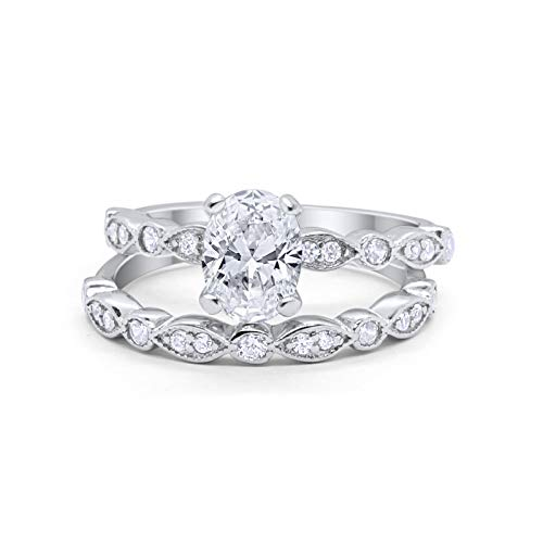 Blue Apple Co. Oval Bridal Set Art Deco Ring Band Two Piece Wedding Engagement Simulated Cubic Zirconia Cubic Zirconia 925 Sterling Silver Size-7