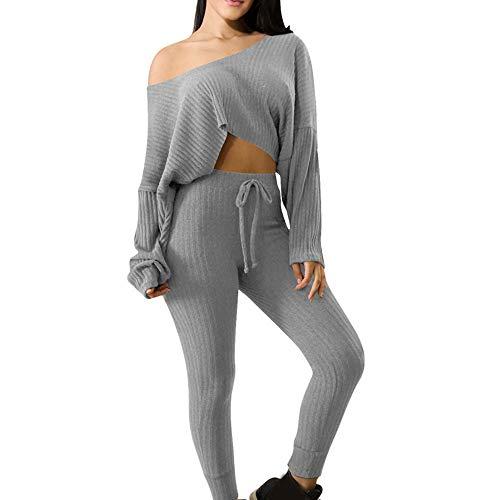2018 Womens 2 PCS Tracksuits Set Ladies Active Sport Lounge Wear Casual Suit (L, Gray)
