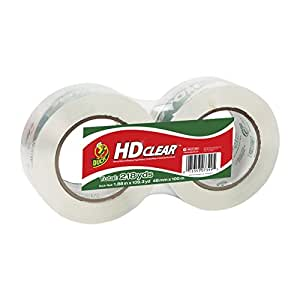 Duck Brand HD Clear High Performance Packaging Tape, 1.88-Inch x 109.3-Yard, Crystal Clear, 2-Pack (299010)