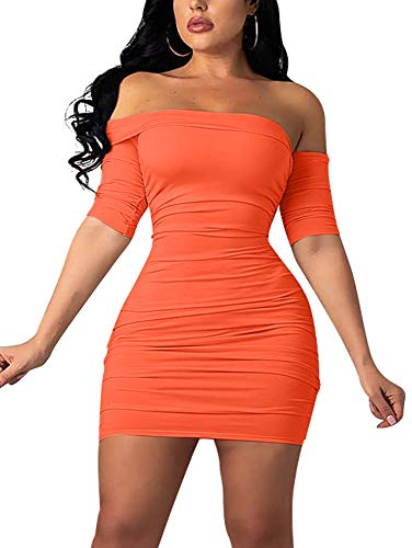 GOBLES Women's Summer Short Sleeve Sexy Bodycon Ruched Mini Party Dress Orange