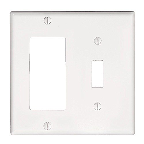 Leviton 80405-W 2-Gang 1-Toggle 1-Decora/GFCI Device Combination Wallplate, Standard Size, Thermoset, Device Mount, White (Switch Plate Wall Gfci)