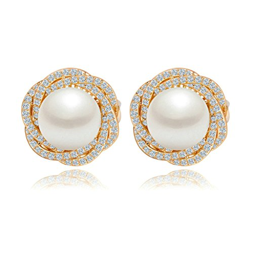 Beydodo Gold Plating Stud Earrings Women White Cubic Ziconia Round Pearl Clip Earring Channel Champagne