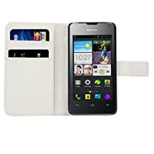 kwmobile Elegant synthetic leather case for the Huawei Ascend Y300 with magnetic fastener and stand function in white
