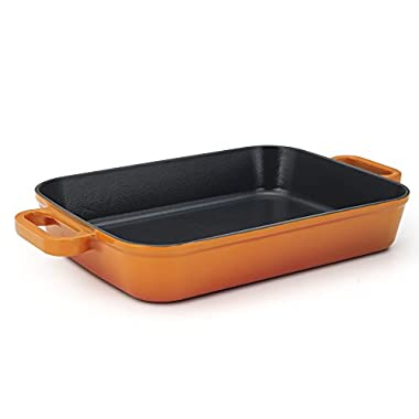 Essenso Chambery Cast Iron Baking/Lasagna Pan with Four-Layer Enamel Interior and Exterior, Orange, 11.8 inch