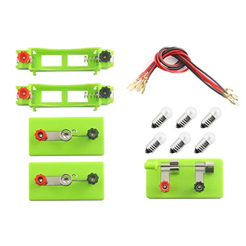 Maxmoral Labs Basic Beginner Circuit Kit for Teaching Series and Parallel Circuits- 1PC Switch, 2PCS AA Batteries Holders, 2PCS Light Holders, 6PCS Bulbs and Wires