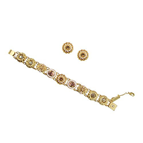 Mariana Yellow Gold Plated Collection Swarovski Crystal Link Flower Bracelet and Matching Earrings Jewelry Set