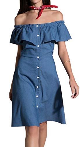 he Shoulder Solid Color Button Up Ruffle Trim Denim Dress Blue ()