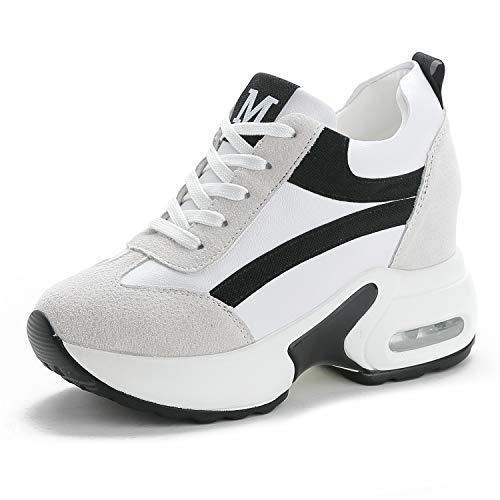 De 9cm Deporte Zapatillas Mujer Altas Plataforma Gimnasio Cuña Tacón Tqgold® Negro Zapatos Sneakers Correr 6SqZ7qIx