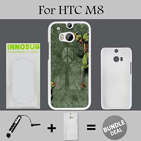 Peace Tree Frog Custom HTC ONE M8 Cases-White-Plastic,Bundle 2in1 Comes with Custom Case/Universal Stylus Pen by (Htc One M8 Case Frog)